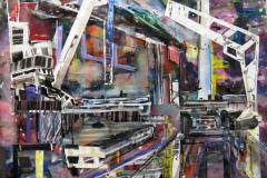 harbour cranes 119x119cm 2009